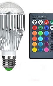 10W E26/E27 LED-globepærer A50 1 Høyeffekts-LED 600-800 lm RGB Fjernstyrt AC 85-265 V 1 stk.