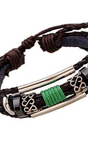 Strand Armbånd / Læder Armbånd 1pc,Brun Armbånd Legering / Læder Smykker Dame / Herre