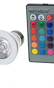 3W E26/E27 LED-globepærer A50 1 Høyeffekts-LED 100-200 lm RGB Fjernstyrt AC 85-265 V 1 stk.