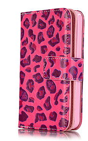 PU Leather Embossed Pink Leopard Wallet Case with 9 Card Slots for iPhone SE 5s 5