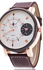 Masculino Relógio Elegante Quartz Relógio Casual Couro Banda Relógio de Pulso Azul / Marrom