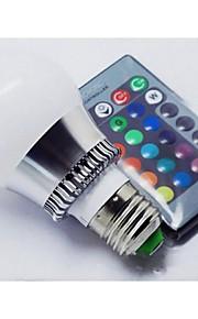 3W E26/E27 LED-globepærer A60(A19) 1 Høyeffekts-LED 100-150 lm RGB Fjernstyrt AC 85-265 V 1 stk.