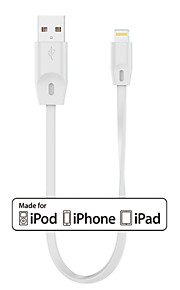 Mini FlatTail MFi Certified Lightning to USB Charger SYNC Flat/Noodle 0.15M Short Cable for iphone5 6 plus SE, iPad air