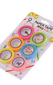 9mm diy farverige dekoration tape 6stk / sæt