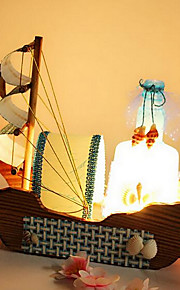 botellas de deriva del barco de vela de la vendimia luz de noche lámpara de madera