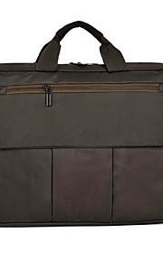 15inch canvas laptop handheld tas zwart / grijs / bruin