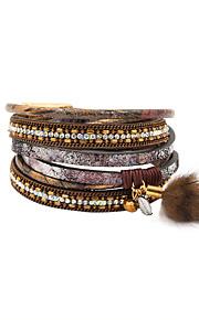Charm-armbånd / Wrap Armbånd / Læder Armbånd 1pc,Gylden / Sølv Armbånd Moderigtig / Vintage / Punk StilKrystal / Legering / Læder / Akryl