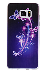 TPU Material Purple Butterfly Pattern Cellphone Case for Samsung Galaxy Note 7
