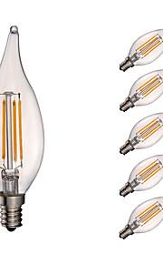 3.5W E12 LED Filament Bulbs CA10 COB 350 lm Warm White Dimmable / Decorative AC 110-130 V 6 pcs