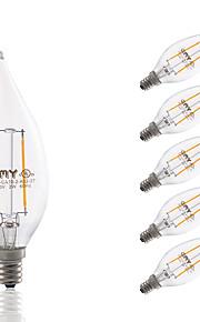 2W E12 LED Filament Bulbs CA10 COB 200 lm Warm White Dimmable / Decorative AC 110-130 V 6 pcs