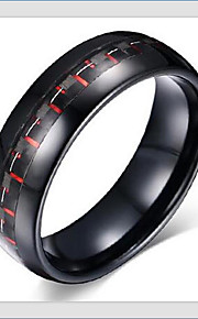 Band Rings,Jewelry Tungsten Steel Fashionable Daily / Casual Black / Red 1pc,7 / 8 / 9 / 10 / 11 / 12 Men