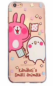 White Rabbit Pattern Material Transparent TPU Phone Case for iPhone  6 6S  6 Plus 6S Plus