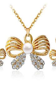 kan Polly mode sommerfugl perle diamant halskæde øreringe sæt