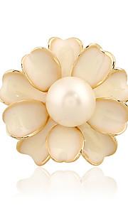 kvinders imiteret perle Camellia blomst guld forsølvede dagligt / afslappet broche pins sjal tørklæder tørklæde spænde ring