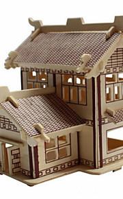 Quebra-cabeças Quebra-Cabeças 3D / Quebra-Cabeças de Madeira Blocos de construção DIY Brinquedos casa Madeira BegeModelo e Blocos de