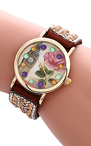 Mulheres Relógio de Moda / Relógio de Pulso Quartz / PU Banda Legal / Casual Preta / Branco / Azul / Vermelho / Marrom / Rosa / Rose marca