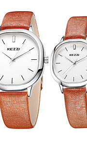 KEZZI Casal Relógio de Pulso Relógio Casual Quartzo / Couro Banda Legal Casual Preta Branco Marrom Branco Preto Café Marron
