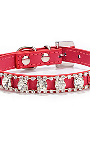 Dog Collar Adjustable/Retractable Rhinestone Multicolor PU Leather