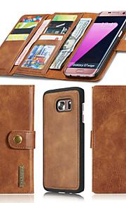 Per A portafoglio / Porta-carte di credito / Origami / A calamita Custodia Integrale Custodia Tinta unita Resistente Vera pelle SamsungS7