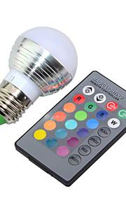 3W E14 / E26/E27 LED-bollampen G45 1 Krachtige LED 250lm lm RGB Dimbaar / Op afstand bedienbaar / Decoratief V 1 stuks