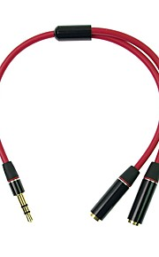 1ft Red 3.5mm Audio Y-Adapter. One 3.5mm Male to Two 3.5mm Female