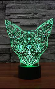 katt berørings dimming 3D LED nattlys 7colorful dekorasjon atmosfære lampe nyhet belysning jul lys