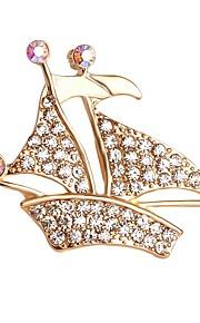 hot salg lysende krystal skib broche for kvinder