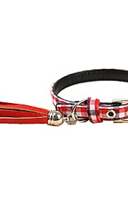 High Quality Blue/Red/Green Classic Grid PU Pets Collar for Pets Dogs