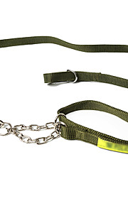 Dog Leash Adjustable/Retractable Solid Black / Green Nylon
