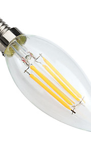 4W E14 LED Filament Bulbs C35 4 COB 400 lm Warm White Dimmable / Decorative AC 220-240 V 1 pcs