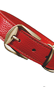 Dog Collar Adjustable/Retractable Solid Red / Black / Brown PU Leather