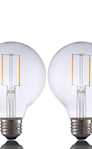 2W E26 LED-glødepærer G80 2 COB 220 lm Varm hvit Dimbar AC 110-130 V 2 stk.