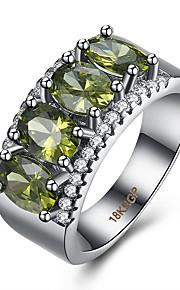 Ringe Kvadratisk Zirconium Daglig Afslappet Smykker Zirkonium Plastik Titanium Stål Wolfram stål Dame Ring 1 Stk.,6 7 8 9 Grøn