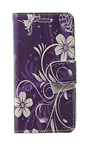 For Samsung Galaxy Grand Neo I9060 Case Cover Purple White Flowers Leather Full Body Cover with Card and Stand Case Galaxy S Advance I9070