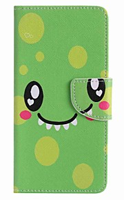 For Samsung Galaxy J7 prime J5 prime Green Smiley Face Painting PU Phone Case