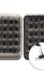 Anmuka 40pcs/box Flies Black Ant 0.05 g/1/18 oz. Ounce30mm/18mm mm Feather / Carbon steel Fly Fishing / Lure Fly Fshing Kit