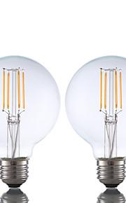 3.5 E26 LED-glødepærer G80 4 COB 350 lm Varm hvit Dimbar AC 110-130 V 2 stk.