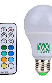 10W E26/E27 LED-globepærer 12 SMD 600-800 lm Naturlig hvit / RGB Dimbar / Fjernstyrt / Dekorativ V 1 stk.