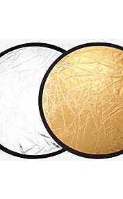 60 centímetros 2 em 1 ouro e prata punho de multi disco portátil reflector de luz dobrável para a fotografia 2 in1 ouro e prata