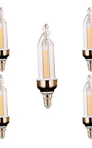 4W E14 Dekorations Lys 2 COB 300-400 lm Varm hvit / Kjølig hvit Dekorativ V 5 stk.