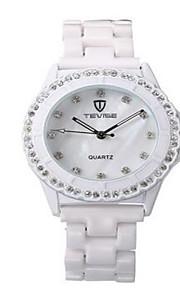 Tevise Mulheres Casal Relógio de Moda relógio mecânico Simulado Diamante Relógio Quartzo Impermeável Luminoso imitação de diamanteAço