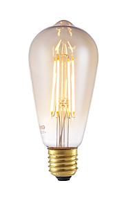 6W E26/E27 LED-glødepærer ST64 4 COB 550 lm Ravgult Dimbar / Dekorativ AC 220-240 V 1 stk.