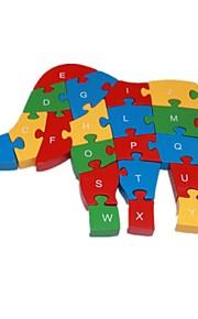 Quebra-cabeças Quebra-Cabeça Blocos de construção DIY Brinquedos Elefante 1 Madeira Arco-Íris