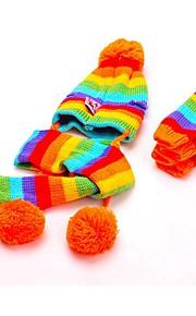 katten / honden Sokken / Bandana's & Hoeden Geel / Roze / Meerkleurig Hondenkleding Winter / Lente/Herfst Kleurenblok Schattig / Houd Warm