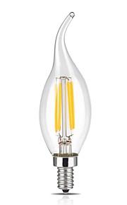 4W E14 LED Filament Bulbs CA35 4 COB 400 lm Warm White Dimmable / Decorative AC 220-240 V 1 pcs