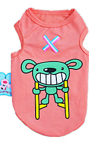 Dog Shirt / T-Shirt Vest Pink Dog Clothes Winter Spring/Fall Cartoon Casual/Daily