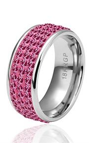 Ringe Kvadratisk Zirconium Daglig Afslappet Smykker Zirkonium Sølvbelagt Dame Ring 1 Stk.,8 Pink