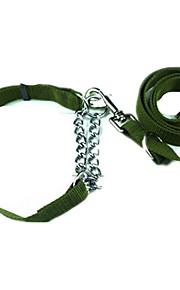 Cães Colarinho Retratável Sólido Verde Tecido