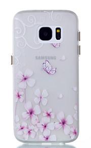 För Självlysande fodral Skal fodral Fjäril Mjukt TPU för Samsung S7 edge S7