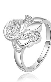 Ringe Kvadratisk Zirconium Daglig Afslappet Smykker Zirkonium Plastik Sølvbelagt Dame Ring 1 Stk.,8 Sølv